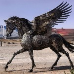 Steampunk animal sculptures full of life made from scrap metal