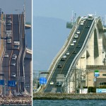 Rollercoaster-like bridge with incredible slope in Japan