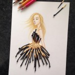 Fashion illustrator integrates cut-out dresses with various objects around us