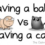 Funny comic showing the difference between having a baby and having a cat