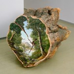 Idyllic landscape paintings on wood slices remind people to protect nature