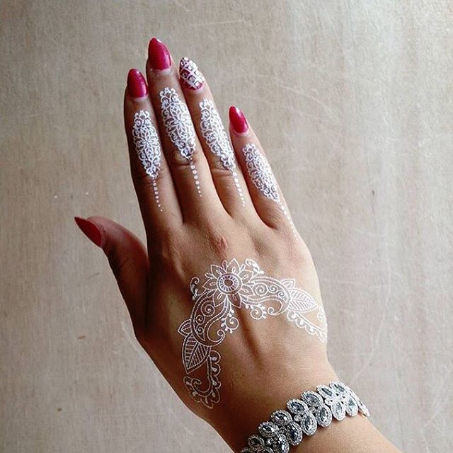 Henna Style Tattoos Lace Tattoo: Elegant White Lace-like Tattoo Designs