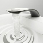 Modern water-saving bathroom faucet featuring elegant flow with beautiful swirls