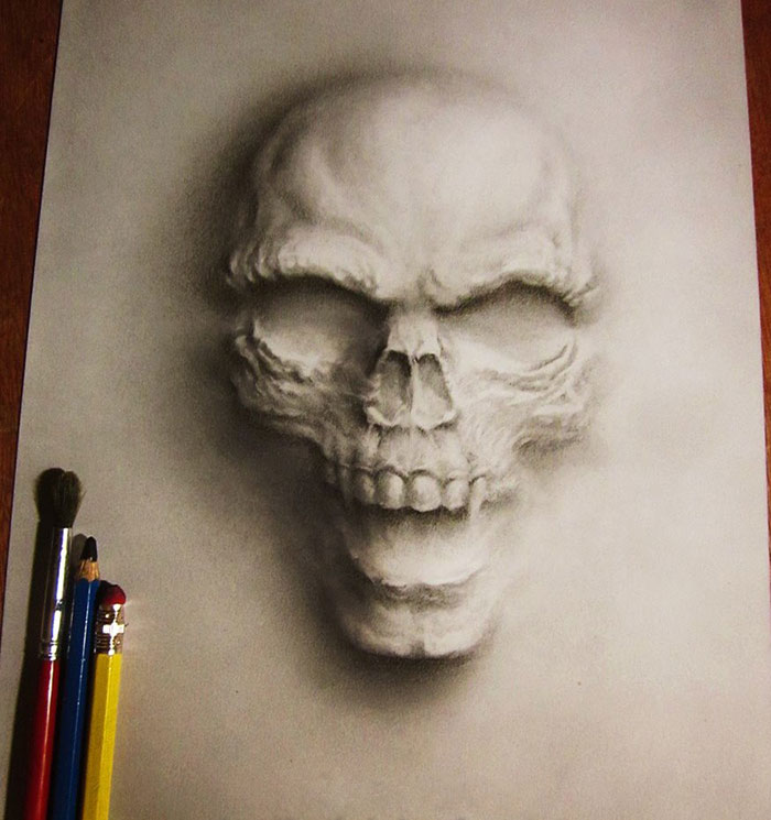 3D pencil paintings created by young Civil Engineer by