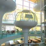 "Futuristic ""floating"" glass dome classes in the Seikei University library"