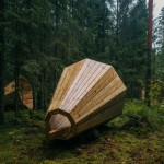 Massive Megaphones in the forest let you listen to the forest