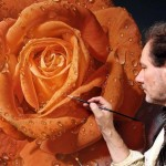 Large-scale detailed rose paintings