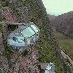Transparent pod hotel placed on cliff