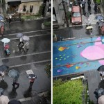 Vibrant murals of aquatic animals on the ground only show up when it rains