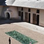 Waving green marble art installation in France