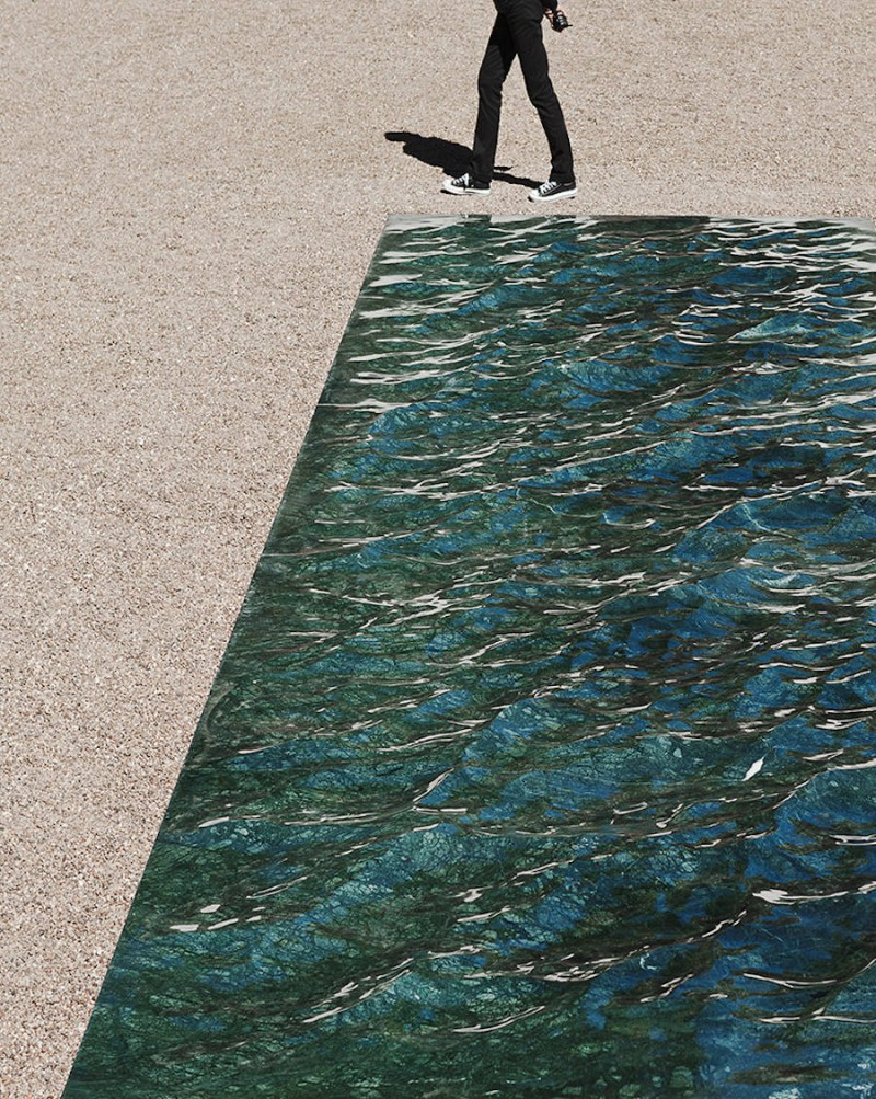 Waving Green Marble Art Installation In France Vuing Com