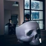 Evil-style skull armchair