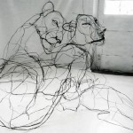 Delicate wire animal sculptures that can only be seen from the correct angle