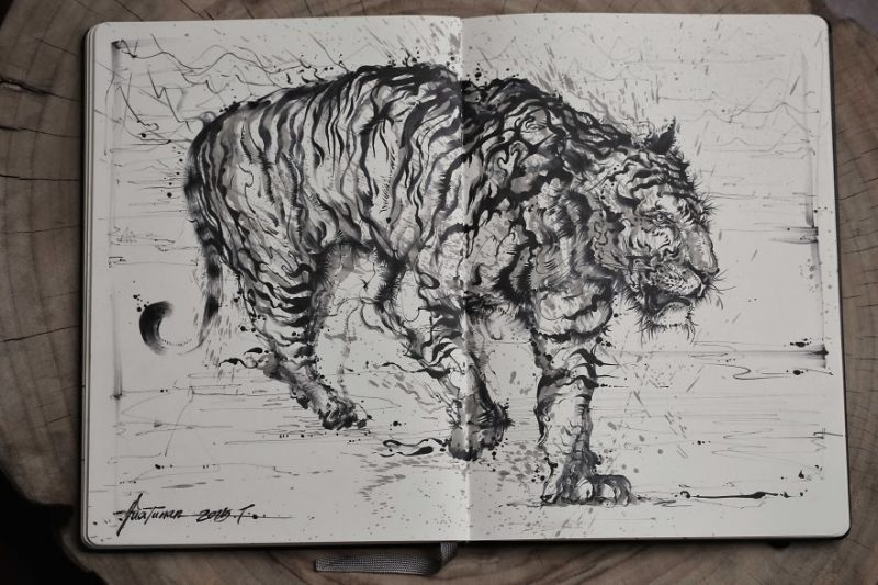Traditional-Chinese-performance-art-Splattered-Ink-tiger-painting (7)