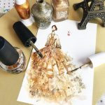 Fantastic illustrations of haute couture and gown created by nail polish and brushes