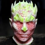 Detailed watermelon carving of the Night King from Game of Thrones by an Italian sculptor