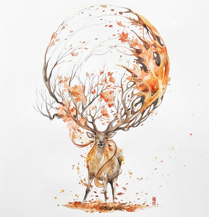 beautiful-Animal-Illustrations-In-Watercolor-paintings (17)