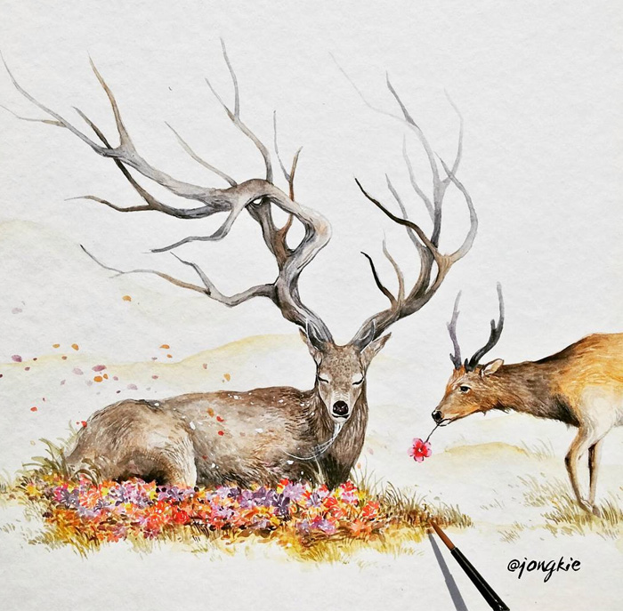 beautiful-Animal-Illustrations-In-Watercolor-paintings (20)