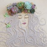Artistic portratis created by twigs and petals