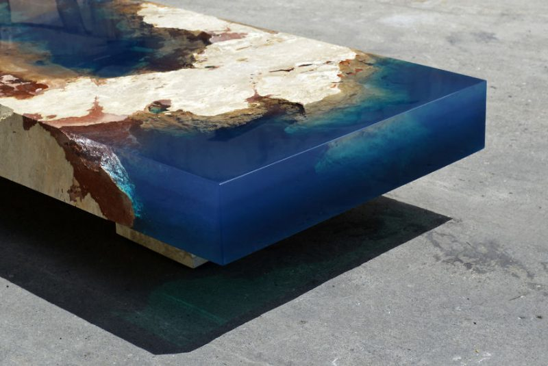 Ocean Coffee Tables Made Out Of Natural Stone And Resin That - This amazing resin table is made using 50000 year old wood