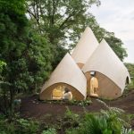 Tents-like forest house in Japan designed for retired ladies