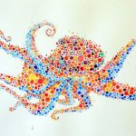 Animal paintings created out of numerous dots