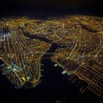 Stunning view of New York at night seen from the sky