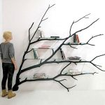 Stylish shelf transformed from a fallen tree branch