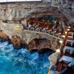 Cave restaurant in Italy with breathtaking view