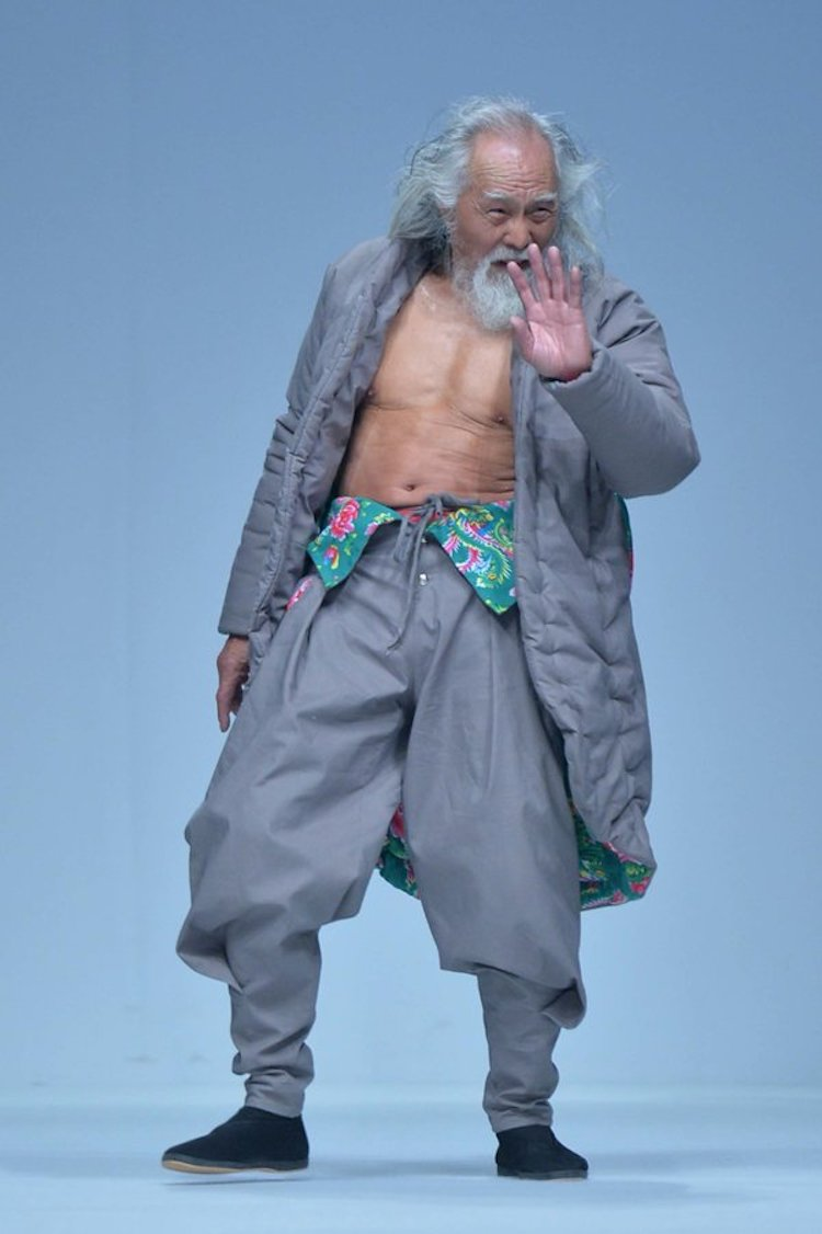 old chinese grandfather model fashon runway
