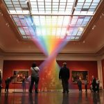 Man-made rainbow inside a gallery room