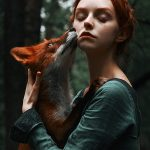 Fairytale-inspired portraiture featuring red-haired beauty and a fiery fox