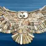 Artworks created out of stones found on the beach