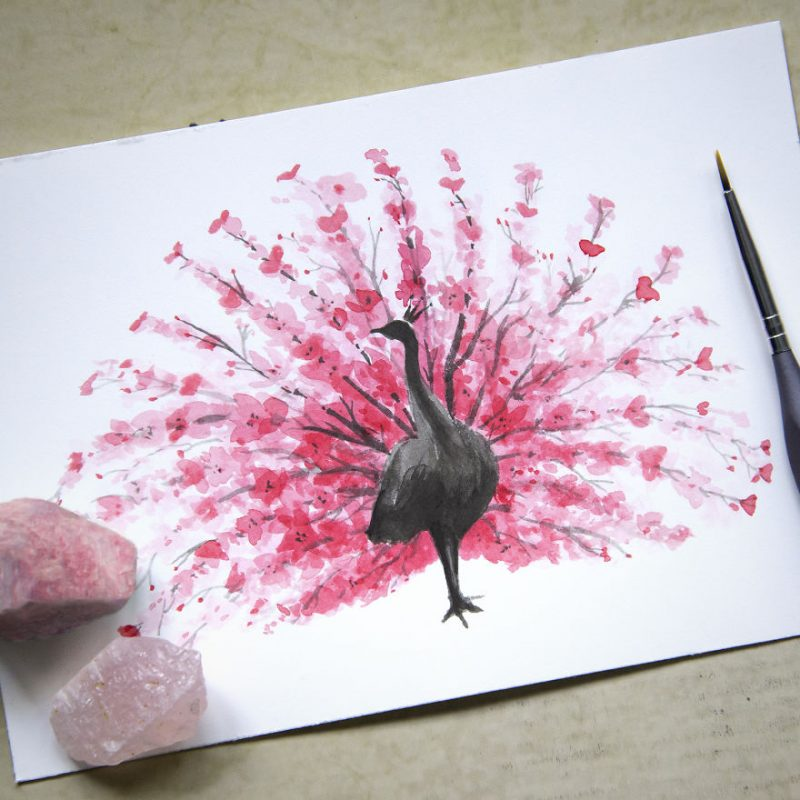 cherry-blossom-animals-silhouette-watercolors-1