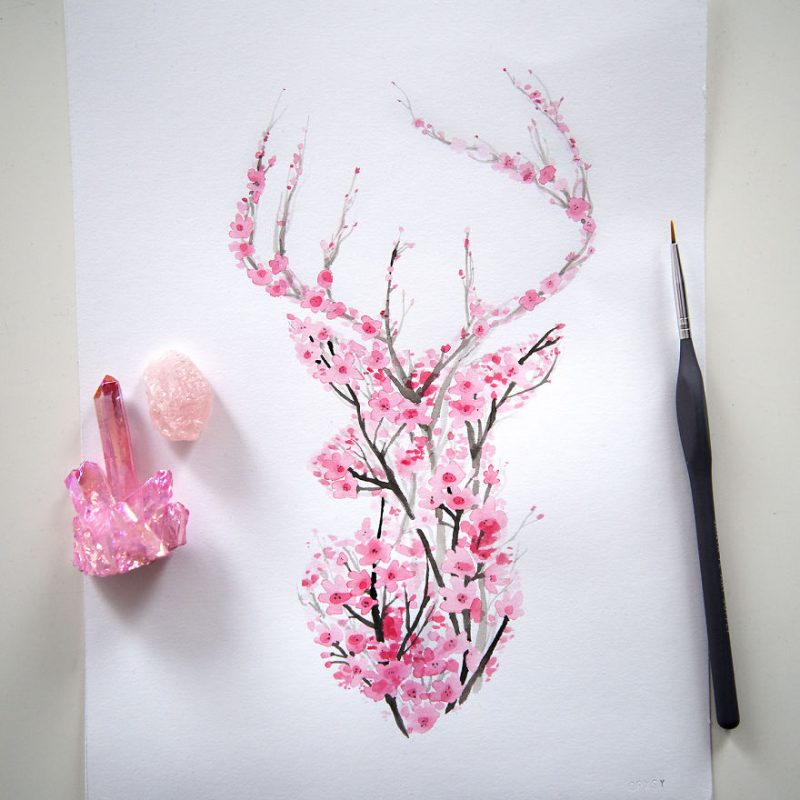 cherry-blossom-animals-silhouette-watercolors-2