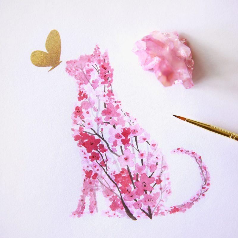cherry-blossom-animals-silhouette-watercolors-3