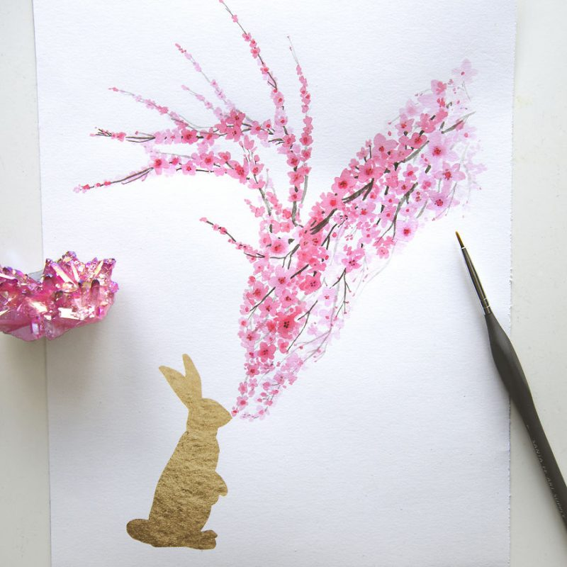 cherry-blossom-animals-silhouette-watercolors-5