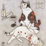 Surreal Japanese ink wash paintings of tattooed cats