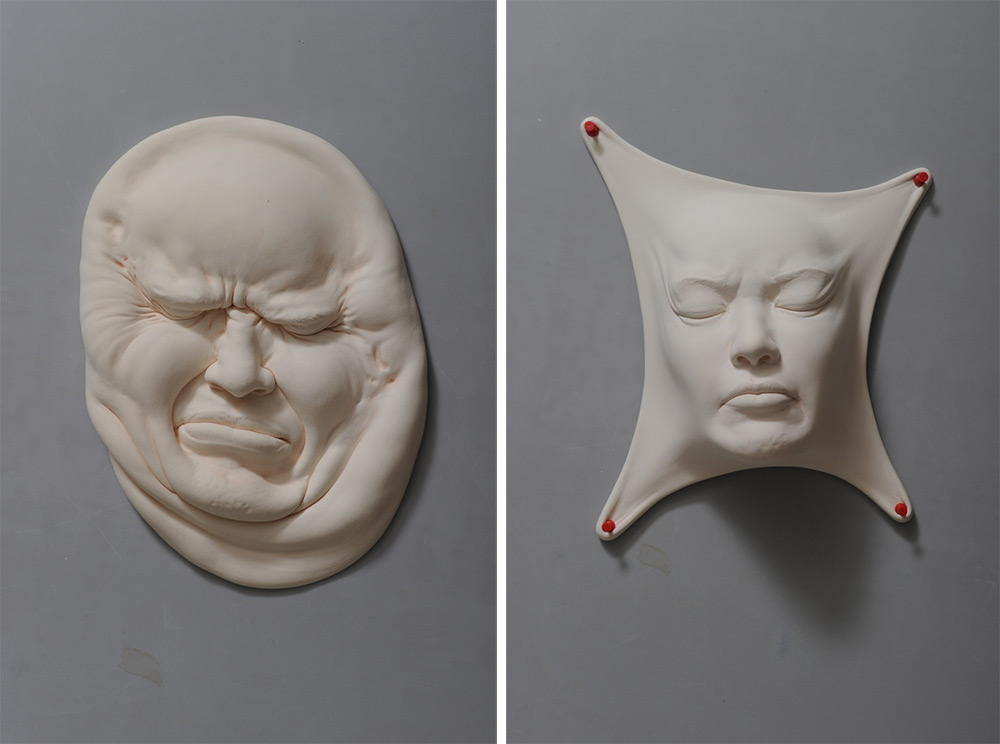 Abstract Porcelain Clay Faces By Artist Johnson Tsang