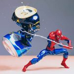 Amusing superhero action figures photography