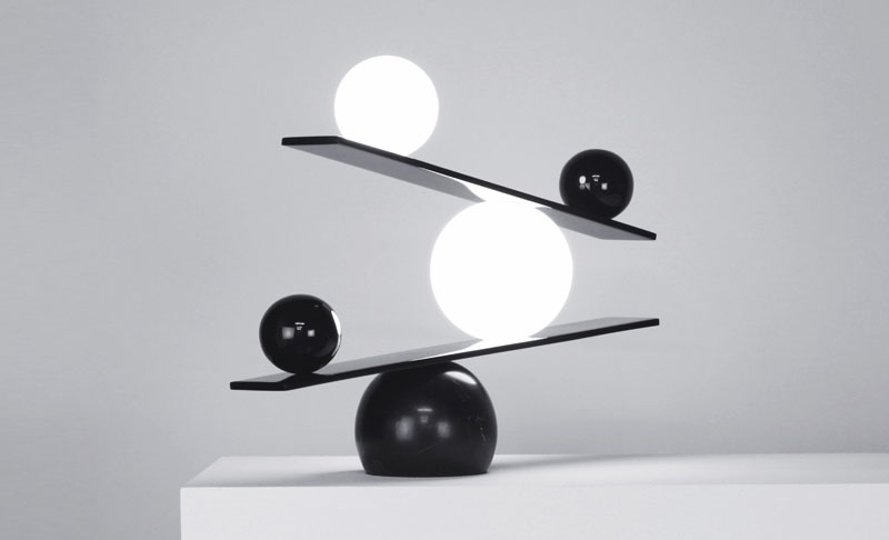 Designer Victor Castanera Created This Sculptural Lamp In Black And White  For Manufacturer Oblure, And The Implication Of This Balance Table Lamp Is  The ...