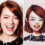Adorable hand-drawn cartoon characters based on celebrities