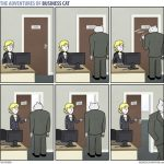 Funny web comics depicting a CEO cat