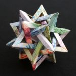Geometric banknote sculptures created by Kristi Malakoff