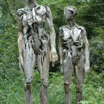 Creepy sculptures made from driftwood