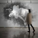 Giant ephemeral portraits created out of cutting from layers of wire mesh