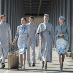 Crew members' haute couture uniforms of a Chinese airline
