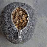 Unzipped rocks by Japanese artist Hirotoshi Ito