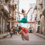 Elegant photos of ballet dancers dancing in the streets of Havana