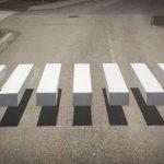 Optical illusion of floating crosswalk in Iceland